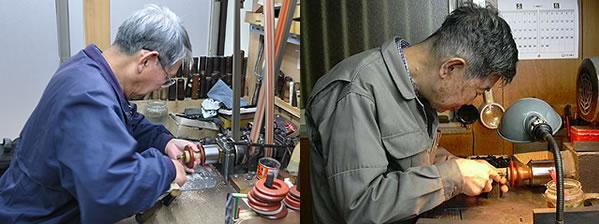 画像左が大西さん、右は加藤さんの当時の製作風景。