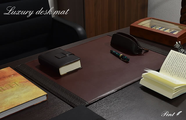 Pent〈ペント〉   byケイシイズ 高級デスクマット アメリカンバイソン装飾 KCC032-B チョコレート